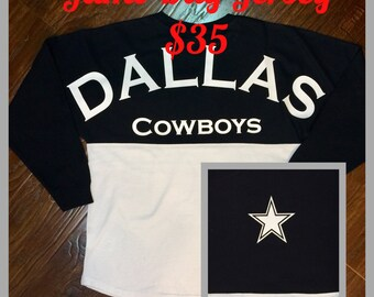 Dallas Cowboy jersey, navy white football jersey, spirit shirt, Cowboys football, game day jersey, ladies jersey, cotton football t-shirt