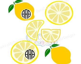 Lemon SVG, Cutting Files SVG, EPS, Dxf, Printable Png Lemon Monogram frame svg, Silhouette, Cricut