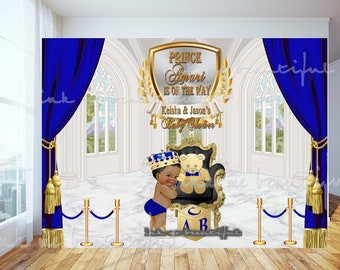 DIGITAL FILE  Royal Baby Shower Backdrop, Photoback Drop, Royal Baby Shower Decor, A Prince is On It's Way, Royal Blue and Gold, RB-004