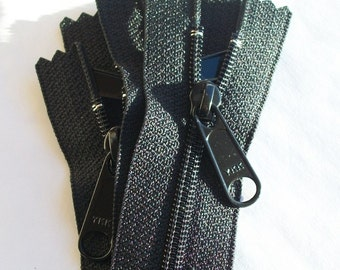 Zippers- YKK Brand Long Pull Handbag Style -(5) Pieces Color 580 Black- available in 5,7,8,9,10,12,14,16,18 and 24 Inches