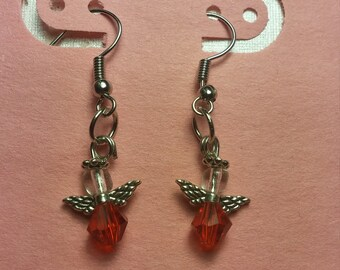 Angel Earrings with the July birthstone