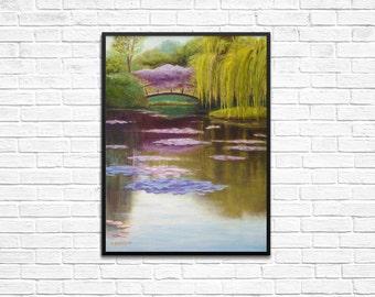 Original Oil Painting, Monet Lily Pads & Bridge, 18x24