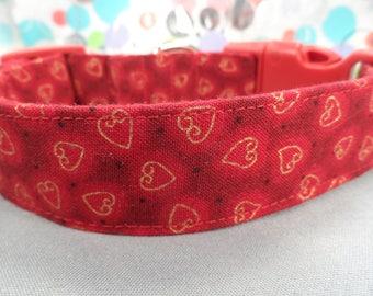 Valentine Dog Collar, Gold Hearts on Red Dog Collar
