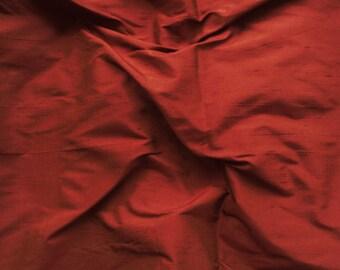 dupioni silk fabric - brownish red 100% pure silk - fat quarter - sld152