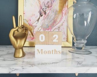 Baby Milestone Age Wooden Blocks - Baby Shower Gift - Photo Prop - Hand Painted White and Wood - Scandi Minimalist