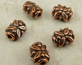 5 TierraCast Rectangle Leaf Beads > Leaves Flower Floral Garden Bali Style - Copper Plated Lead Free Pewter - I ship Internationally 5572