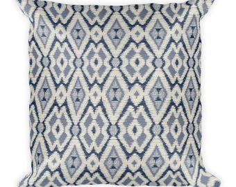 Blue Indian Square Pillow, Throw Pillow, Couch Pillow, Decorative Pillow, Modern Home Decor, Custom Pillow, Custom Home Decor, Euro Sham