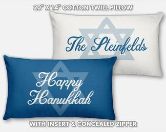 Happy Hanukkah Pillow Chanukah Decor Jewish Holiday Decorations Personalized Decorative Throw Pillow Cover Unique Gift for Him Gift for Her