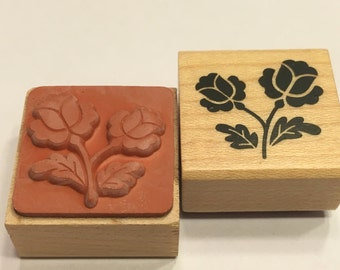 small  Flower / Rose rubber stamp, 20 mm (F1)