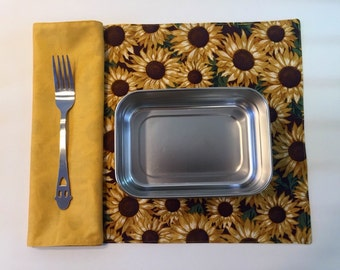 Sunflower Lunchbox Napkin Set(2), Harvest, Waste Free Lunch, Fall Autumn Napkins, Waldorf Preschool, Pumpkin Shaped Placemat, Work Lunch