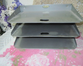 Vintage Lit-Ning  Products Fresno,  Metal 3 Tray Desk Organizer,  Paper Organizer, File Tray Or Paper Tray, Vintage Home Decor