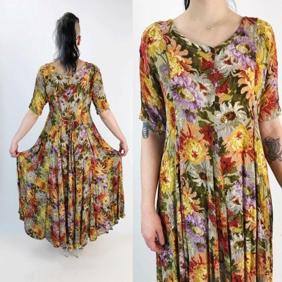 90's Flowy Allover Print Floral Maxi Dress Romantic Grunge Medium - Spring Floral Long Rayon Spring Maxi Dress Vintage Nineties Girly Dress