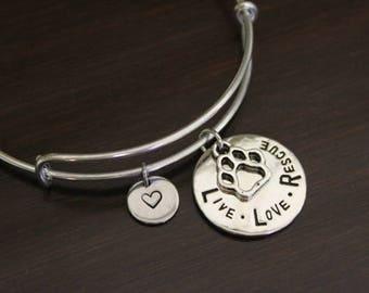 Live Love Rescue Bangle - Paw Print Bangle Bracelet - Animal Lover Gift- Vet Gift - Animal Shelter Gift -Open - I/B/H