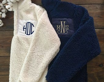 In Stock! Navy Sherpa Embroidered Pullover
