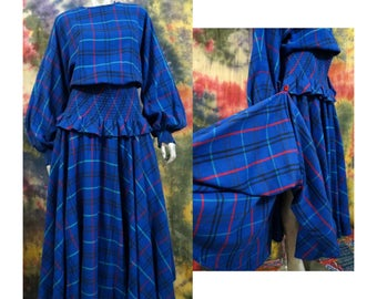 Vintage 1980s Barboglio Cristina Jan Blue Tartan Plaid Dress Ruched Waist Full Circle Grand Sweep Maxi W/ Pockets Size Large Bishop Sleeves