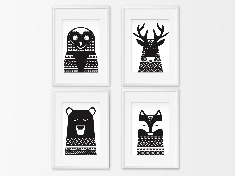 4 affiches noir et blanc animaux 4 posters ours renard. Black Bedroom Furniture Sets. Home Design Ideas
