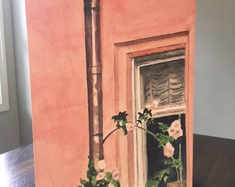 Watercolor Giclee Print  Wood Panel Rose Gold Pipe