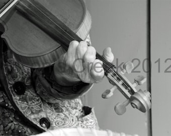 Old Woman and Fiddle Black and White