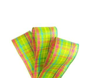 Plaid Ribbon, Green Plaid Ribbon, Summer Ribbon, Spring Ribbon, Wired Ribbon, Florist Ribbon, Hair Ribbon Bow, Craft Ribbon, Bow Ribbon