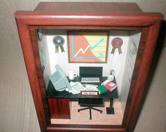 Miniature Roombox Vintage Office Manager Secretary Executive Gift Diorama