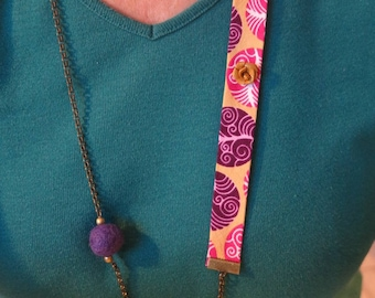 """Fabric necklace and chain """"Wax, Roses and butterflies."""