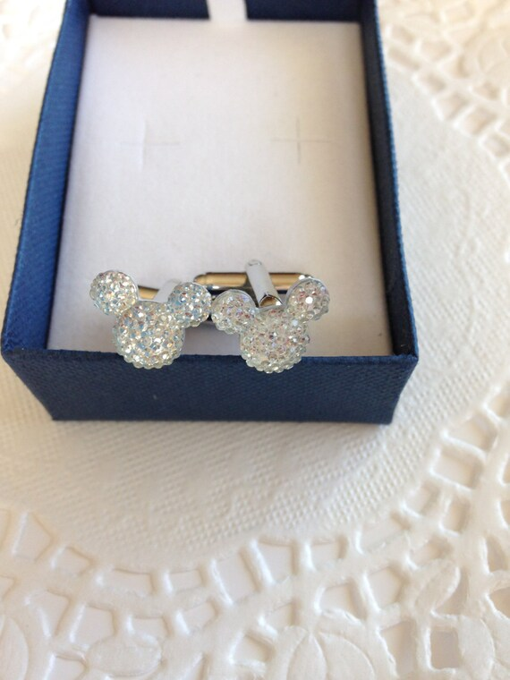 MOUSE EARS Cufflinks for Wedding Party in Dazzling Clear Acrylic Gift Box Included for FREE