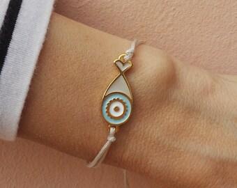 Evil eye bracelet. Greek evil eye bracelet. Charm bracelet. Stacking bracelet. Bohemian bracelet. Cord bracelet, Summer bracelet.