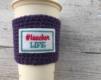 Teacher Cup Cozy, Crochet Coffee Cozy, Coffee Sleeve, Drink Sleeve, Teacher Gift, Gift under 10, Party Favor