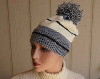 Sport Hat,  Ear Warmer, Gray, Ivory, Black  Hand Knit Hat, Winter Hat, Fashion Hat, Pom Pom Knit Hat