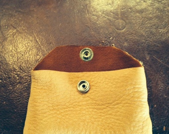 Credit Card / Money Holder - Elk skin and Cowhide with snap!