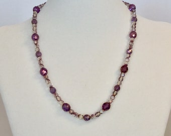Czech Firepolished Purple and Gold Necklace