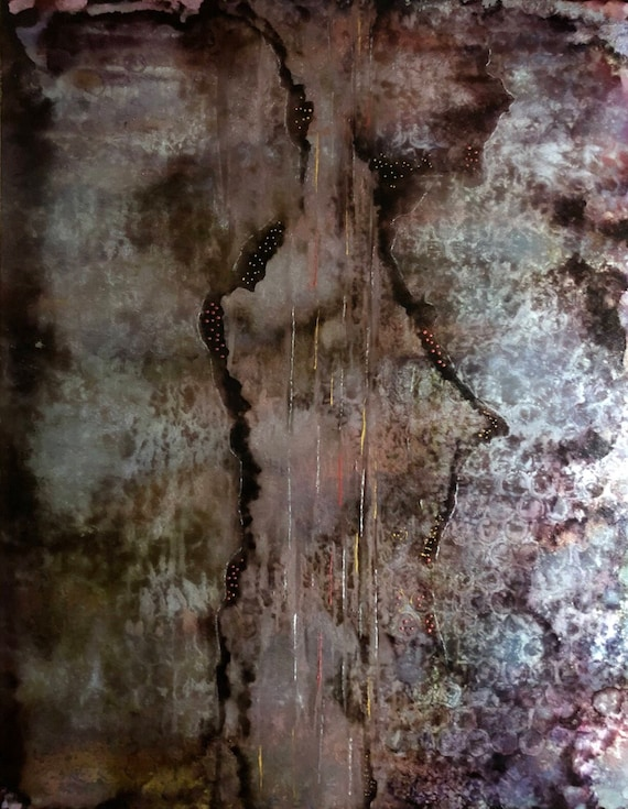 """Original Alcohol Ink Abstract Painting: """"Aged to Reflection"""" (11"""" X 14"""")"""