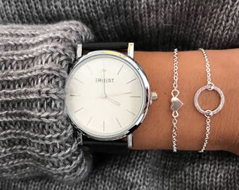 Heart bracelet - Minimalist Jewelry - Silver, gold