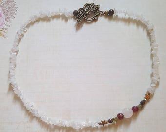 Rainbow Moonstone and Rose Quartz Floral Necklace