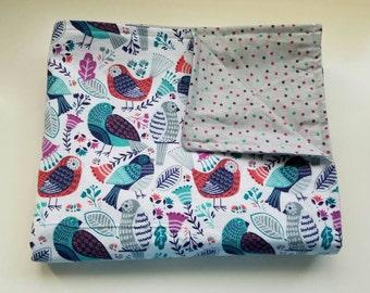 Baby /Toddler Blanket, Birds, polka dots
