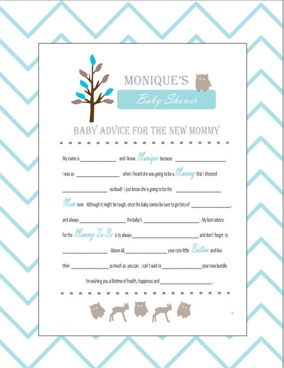 Baby Shower Mad Libs and Wishes for the Mom to Be Woodland