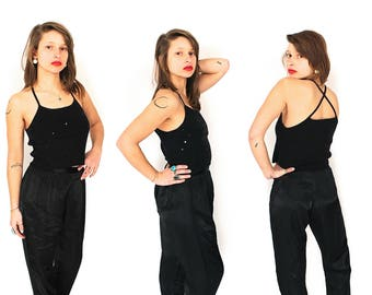 Vintage 1950s 1960s Pants - 50s 60s High Waisted Satin Cigarette Pants - 50s 60s Black Satin Pencil Pants - Chinese Chignon Pyjama Pants
