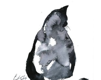 Minimalist Cat Original Watercolor Painting, Cat Black and White Modern Painting Art, Cat Watercolour Art