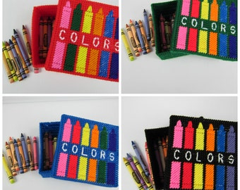 Crayon Box Holder, Kids Crayon holder, Childs color box, plastic canvas crayon box, boy or girl crayon box, handmade crayon keepsake box