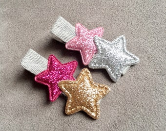Baby hair clips, baby hair bows, No slip hair clips, Toddler hair clips, Toddler hair bows, baby girl hair accessories, Star Hair Clips