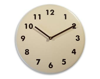 Brown wall clock. Modern wall clock. Numbers clock. Wood wall clock. Solid color on birch, engraved numbers.  CL4015