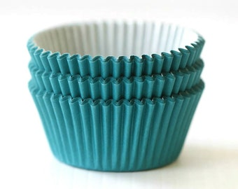 Solid Teal Turquoise Aqua Blue Cupcake Liners