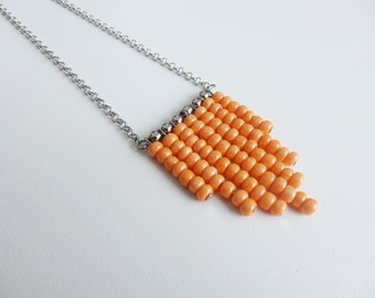 Minimal necklace orange beads