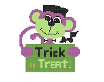 Plastic Canvas Franken Monkey Wall Hanging PDF Format Instant Download