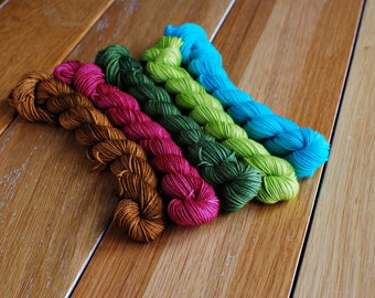 Garden, Mini Skein Set, Hand Dyed Yarn, SW Sock