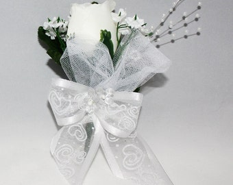 White Rose Boutonniere White Ribbon with Hearts