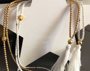 "glass beads necklace ""white and gold matte"" tassel attached"