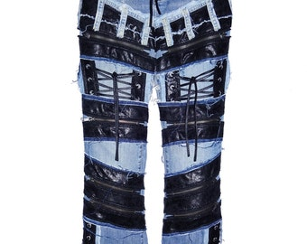 Faux Black Leather with Extra zippers,  back Pockets & lace ups on a pair of Vintage Blue Jeans