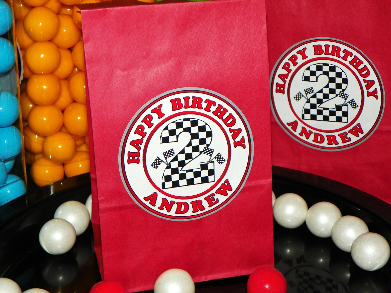 Custom Race Car Goody Bags W Sticker Seals Included Checkered