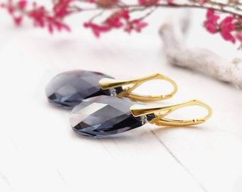 Swarovski earrings, Grey earrings, Black diamond earrings, Crystal earrings, Rose gold earrings, Teardrop earrings, Silver earrings 1